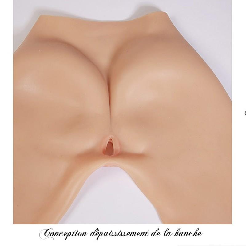 Legging faux vagin réaliste trangenre, en silicone