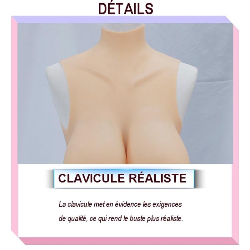 Buste faux seins réaliste, col haut, Bonnet H