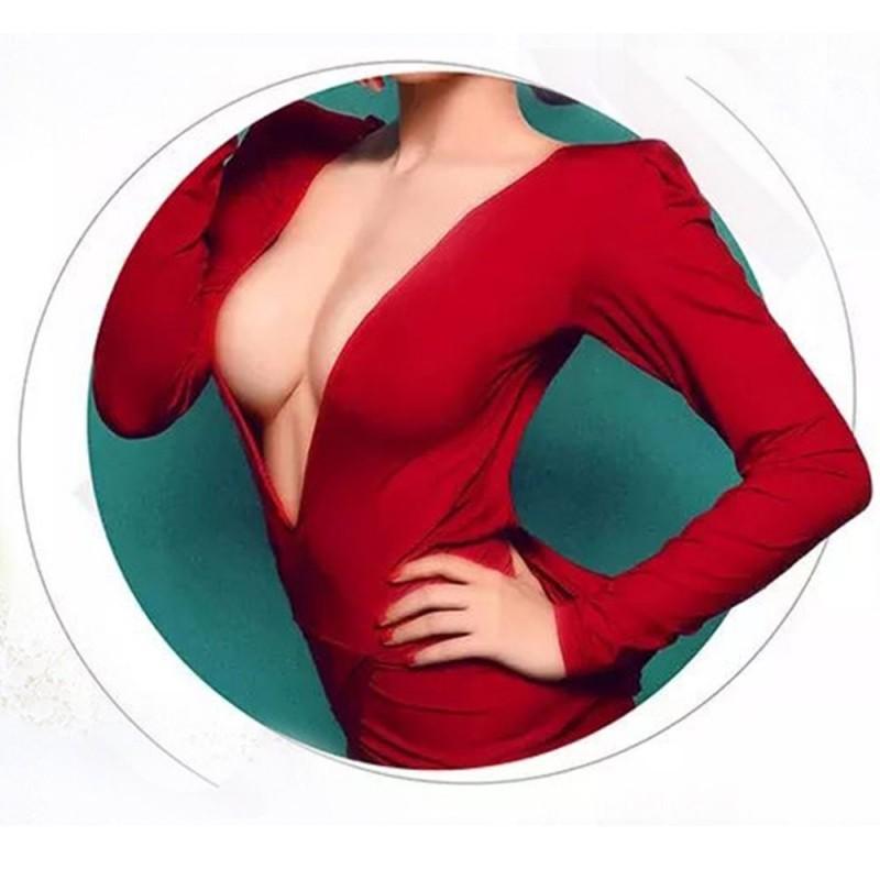 Buste faux seins 100% silicone encolure ronde, bonnet D