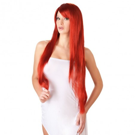 Perruque longue, fibres synthétiques, cheveux doux au toucher