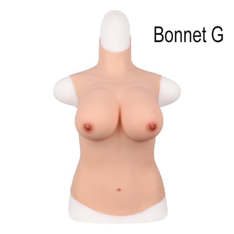 Buste long faux seins, 100% silicone, col haut, Bonnet C-D-E-G