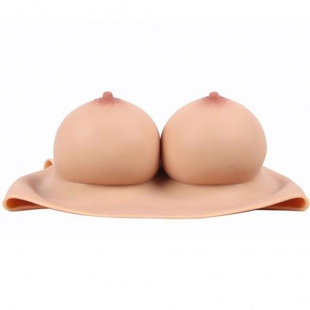 Buste faux seins, 100% silicone, encolure ronde, Bonnet F