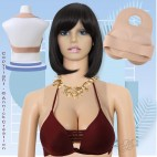 Buste faux seins 100% silicone, dos nu