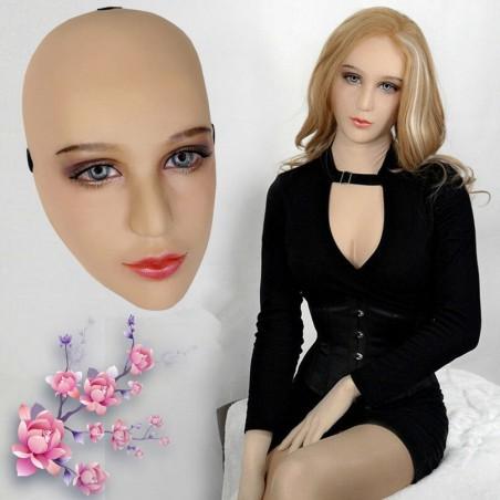 Masque féminin réaliste demi-tête, maquillage permanent