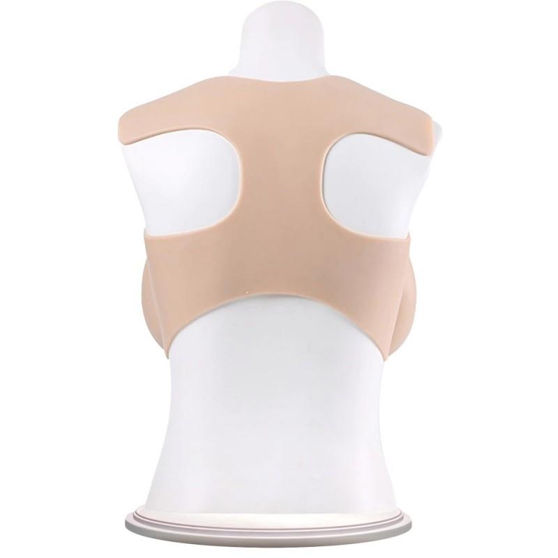 Buste faux seins silicone, encolure ronde, Bonnet C-D-E-G
