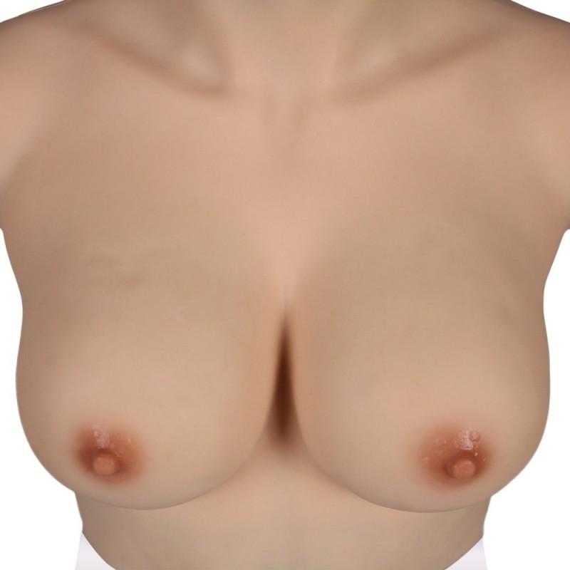 Buste faux seins new design, en silicone, col haut