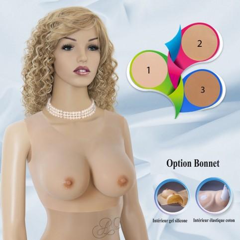 Buste faux seins silicone, encolure ronde