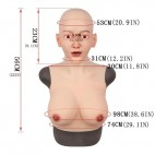 Buste faux seins masque intégré, Bonnet E